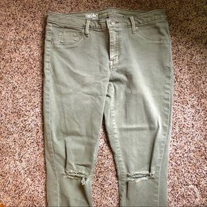 Women's light army green ripped jeans